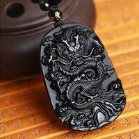 Unique Natural Black Obsidian Carving Dragon Lucky Amulet Pendant Necklace For Women Men Pendants Fashion Jewelry