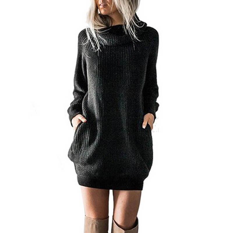 2018 Sexy Women Winter Bow Collar Long Sleeve Long Sweater Pockets <font><b>Ribbed</b></font> Knit Mini <font><b>Dress</b></font> Vestido Solid Party Baggy <font><b>Jumper</b></font>