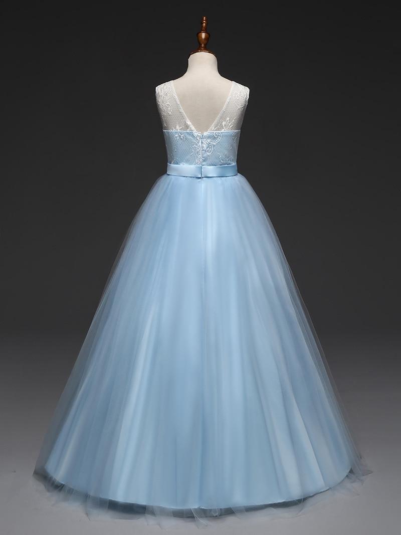 Фото Child Long Formal-dresses-evening-wear Flower Lace Princess Light Blue Dress Wedding Kids Dresses for Girls Evening Gown