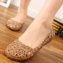 Women's Sandals 2017 Fashion Lady Girl Sandals Summer Women Casual Jelly Shoes Sandals Hollow Out Mesh Flats  23-25cm PA864521