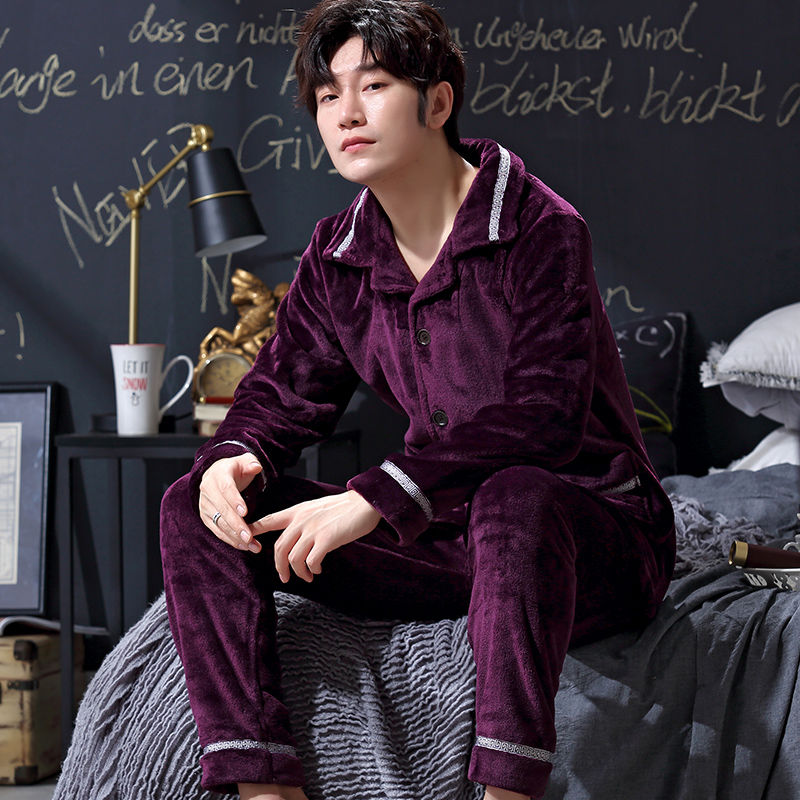 Pajamas Winter Velvet Lanqiu Chunqiu Home Service Single-storey Autumn And Winter Cardigan Thin Tidal Winter Set