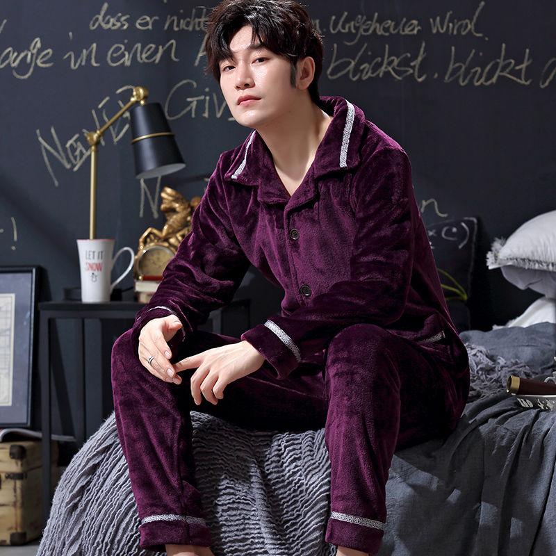 Pajamas Winter Velvet Lanqiu Chunqiu Home Service Single-storey Autumn And Winter Cardigan Thin Tidal Winter Set