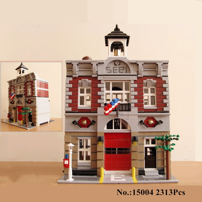 H&HXY In-Stock 2313Pcs 15004 City Street Fire Brigade Model Building Kits  Blocks Bricks Lepin Compatible 10197 Child's toys lepin 15004 2313pcs city creator series fire brigade model building blocks bricks toys for children gift compatible 10197