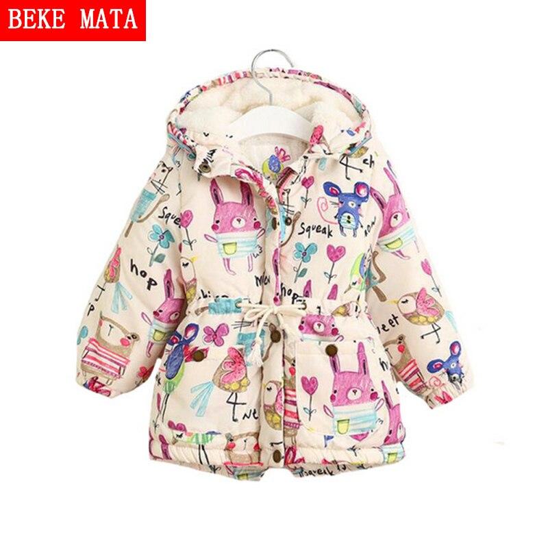 2016 New Winter Jackets For Girls Graffiti Hooder Zipper Parkas Baby Girl Warm Outwear Cartoon Animal