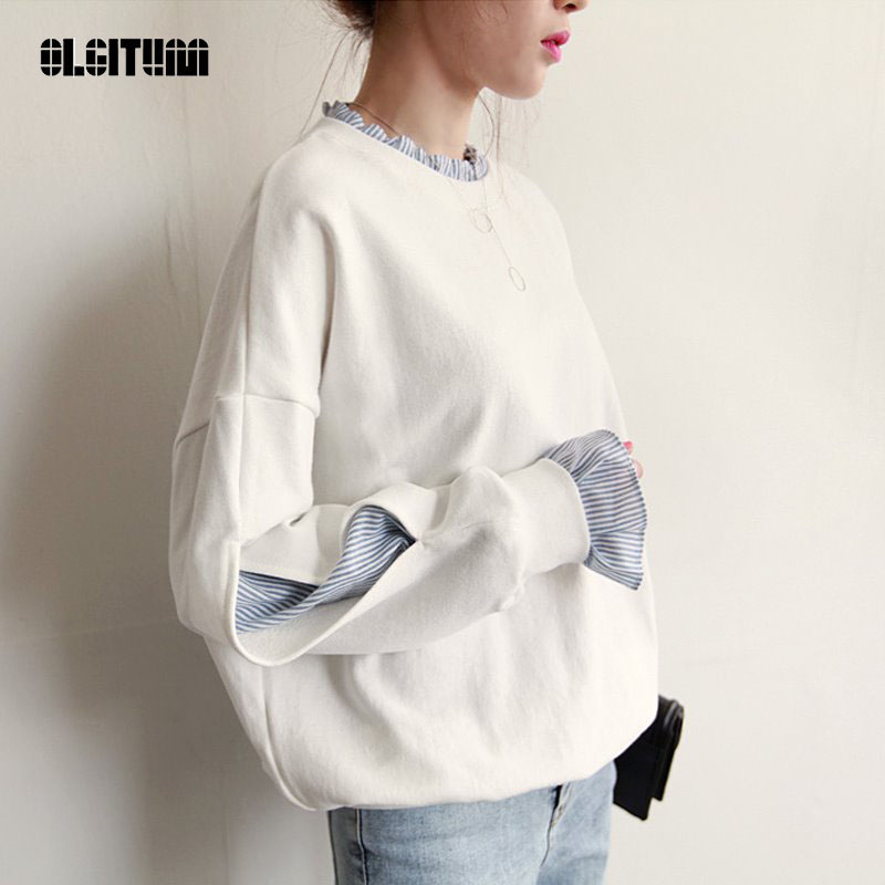 Women's Clothing Olgitum New Sweatershirt Fake Two-piece Round Neck White Female Loose Stitching Head Thin Section Last Style