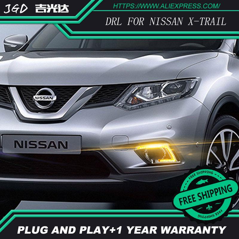hot sale ! 12V 6000k LED DRL Daytime running light case for Nissan X-trail X trail Xtrail 2014 2015 Daytime Running Light trail running