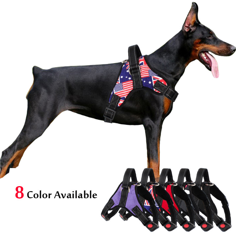 Medium Large Dog Harness Nylon Reflective Collar Vest Harnesses For Dogs Training Husky Alaskan Bulldog Breast-band Belt Lead creative sled dog bulldog model pinata toys pet dog piggy bank bull terrier akita dogs siberian husky dogs save money tank model