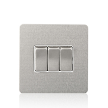 Cognag Brown Stainless Steel 10AX 3 Gang 1 Way British Standard Electric Wall Switch Light