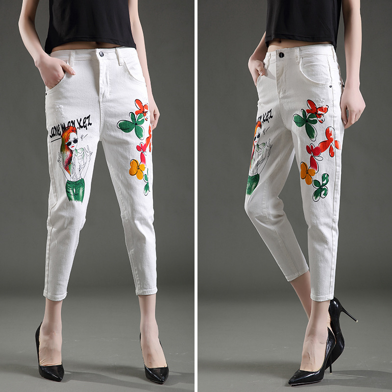 2017 Spring New Women Brand Clothing Korean Version White Jeans Ankle-Length Pants Loose Casual Painted Pattern Harem Pants Jean 2017 new korean casual cat embroidery loose jeans pants