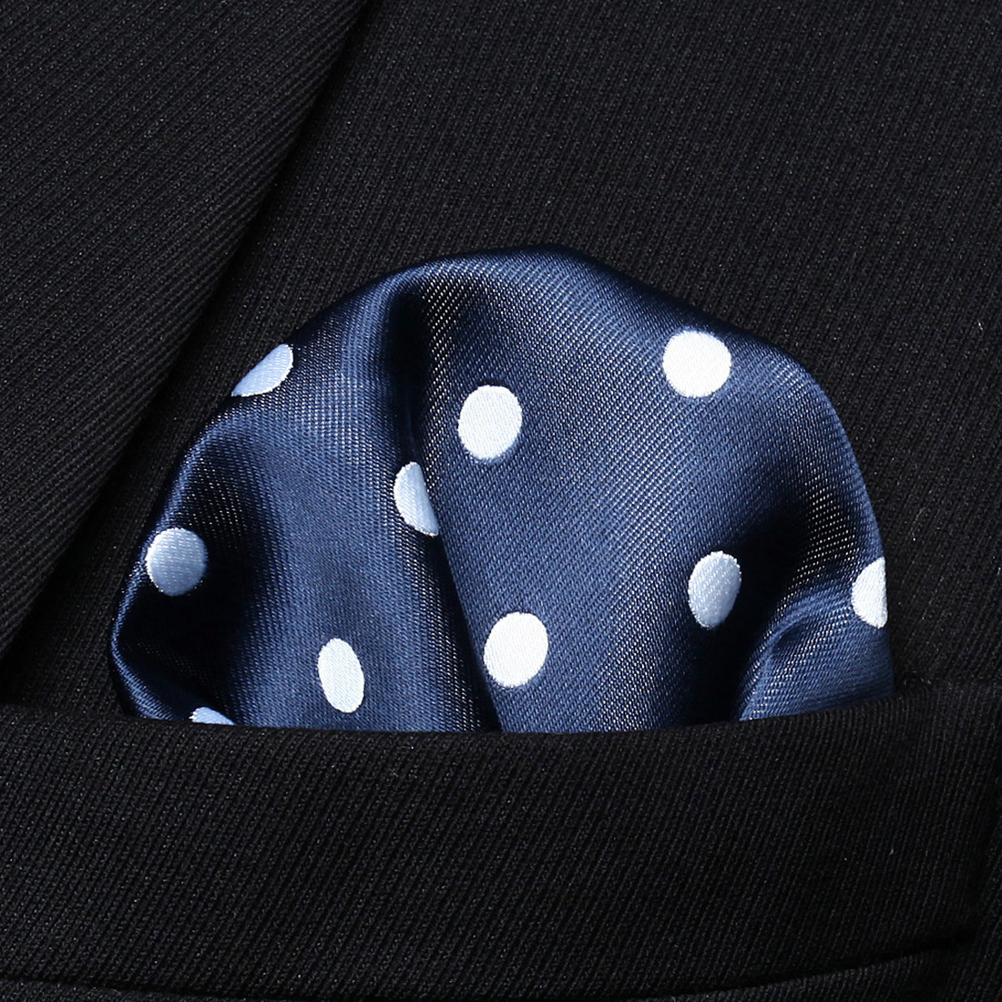 HD704V Navy Blue White Dot Men 100% Silk Party Handkerchief Pocket Square Hanky