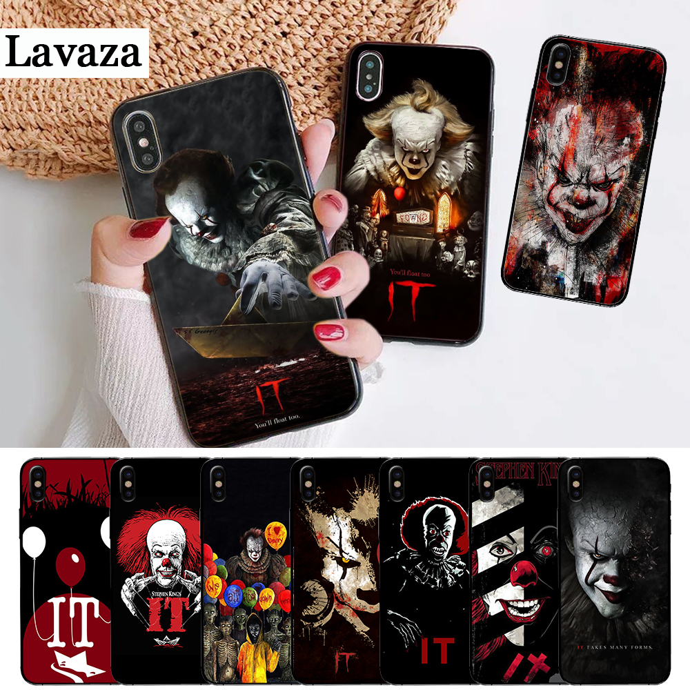 Lavaza Pennywise The Clown Horror Silicone Case for iPhone 5 5S 6 6S Plus 7 8 11 Pro X XS Max XR in Half wrapped Cases from Cellphones Telecommunications
