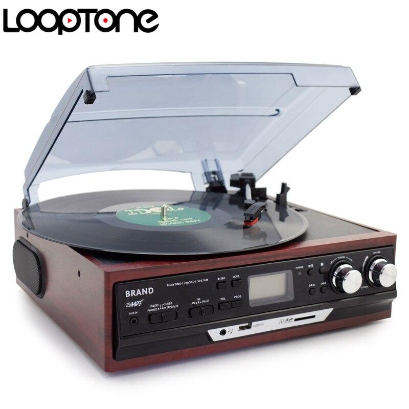 LoopTone Lettori Stereo Phono Giradischi Vinyl LP Record Player Con AM/FM Radio USB/SD Aux Cassette MP3 registratore Cuffia Martinetti