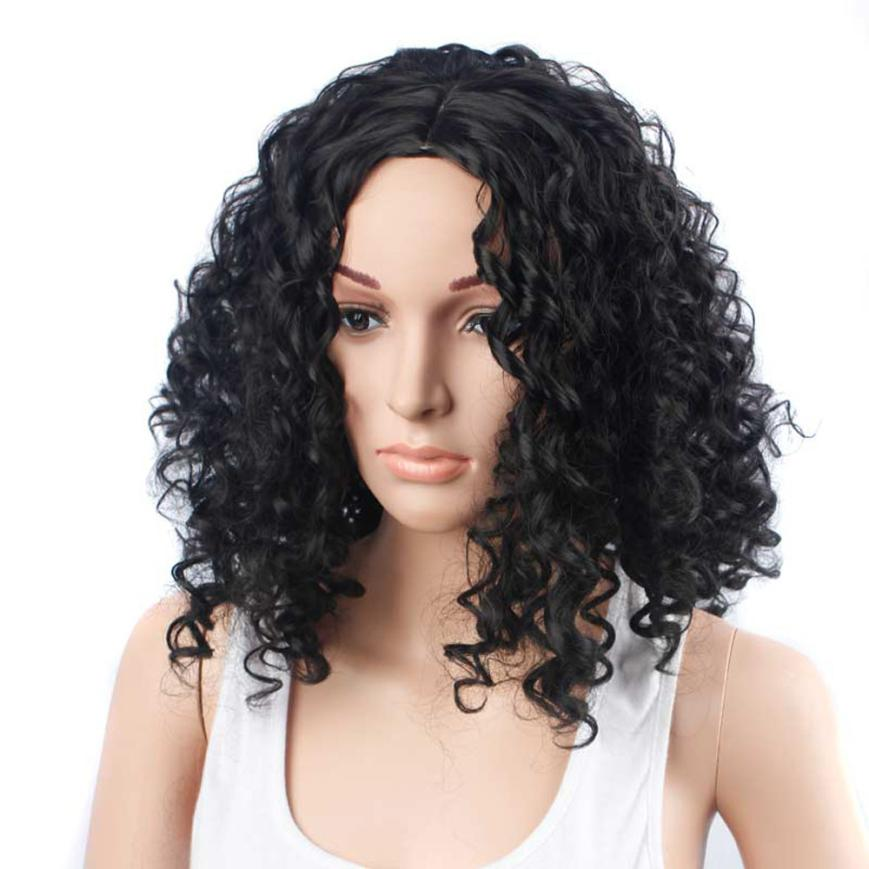 Womens Fashionn Black Short Curls Hair Cosplay Party Wig Full Wig 0703 ...