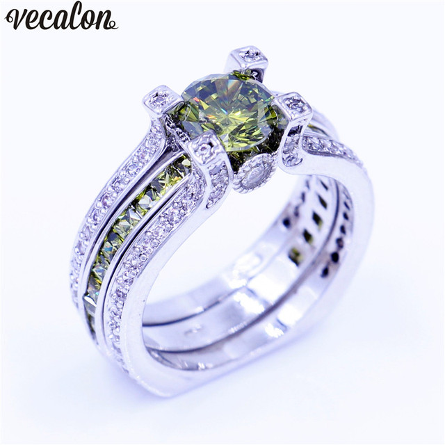 Vecalon New Lady Anniversary Ring Olive 5A Zircon Cz White Gold Filled Wedding Band Set