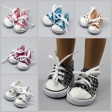 Fashion Canvas Doll Shoes For 18 inch American Girl Black and White Polka Dot High Quality