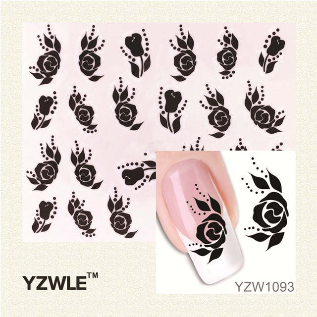 Us 025 15 Offwuf 1pcs Elegant Black Rose Designs Nail Art Water Sticker Nails Beauty Wraps Foil Polish Decals Temporary Tattoos Watermark In