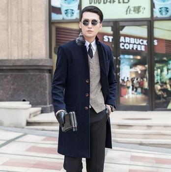 Black khaki blue grey winter wool coat mens trench coats slim casual coat overcoat for mens fashion pea coats big size S – 9XL
