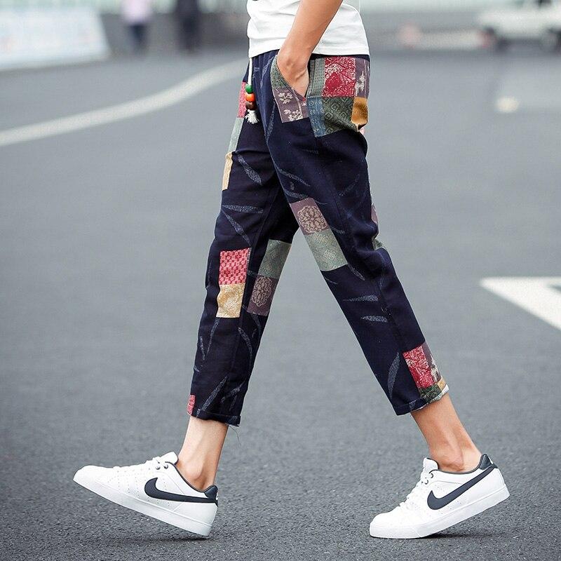 2016 plus-size summer men flax floral nine minutes of pants Leisure elastic waist city boy loose haroun pants  M –5XL
