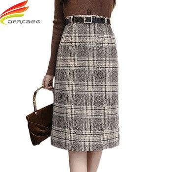 Women Wool Skirts Winter 2019 New Thicken Woolen Plaid Elegant A Line Chic Skirt High Waist Female Skirts Midi Skirt Faldas saia plaid a line midi skirt