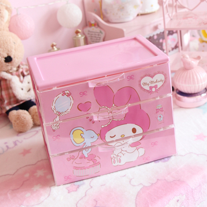 1pc cute Japanese pink my melody plastic boxes 3 floors girls Jewelry Box home decoration for dolls accessoriess