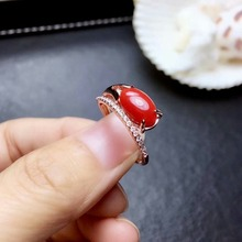 shilovem 925 sterling silver Natural red coral rings fine Jewelry wedding  women trendy open  plant party new gift mj0612089agsh