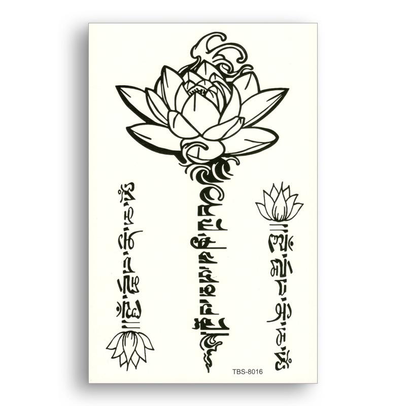 Temporary Fake tattoo Waterproof Water Transfer Tribal Totem Black Lotus Stickers glitter Sexy Women Men Beauty Cool Body Art