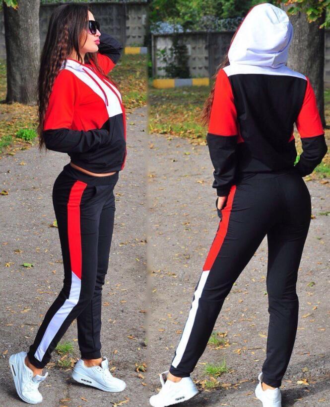 New Women two piece set top and pants Casual Sport Suit Plus Size Tracksuit \Womens 2 Piece Sets 2019 Zipper Tracksuit Female