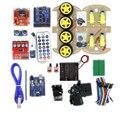 Multifuncional 4WD Robot Kits de Coche Placa Del Sensor Ultrasónico Módulo UNO R3 MEGA328P Para Arduino Robot Kit de Montaje de Automóviles