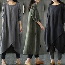 Plus Size Women Cotton Linen Dress Vestido 2019 Summer Casual Shirt Dresses Asymmetrical Long Sleeve O-Neck Maxi Dress цена