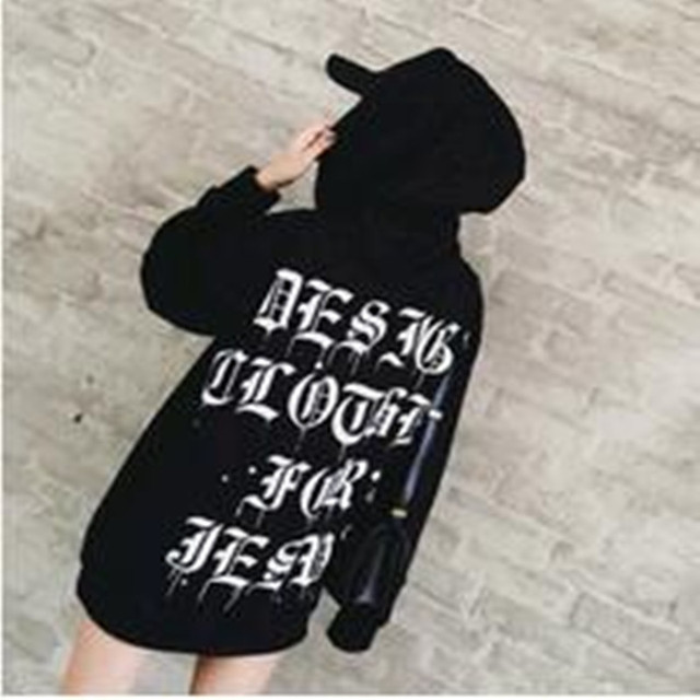 New 2017 The Heavy Chain Of  Gothic Printing Custom Hooded  Hoodies  Women