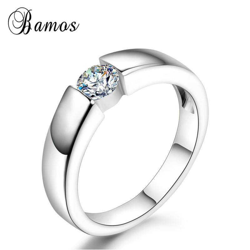 Bamos White Rose Gold Color Solitaire Ring Simple Round Zircon Stone Engagement Rings For Women Men Fashion Wedding Jewelry Engagement Rings Aliexpress
