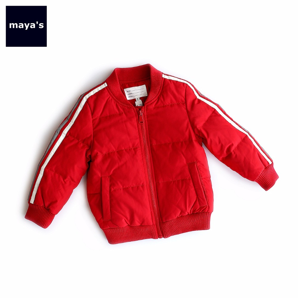 Mayas Kids Red Striped Full Sleeves Down Jacket Children Basic Winter Jacket 90% Duck Down Basic Outerwear Toddler Coat 75209 цена