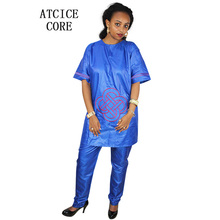dashiki soft material embroidery deisgn top with pants for woman