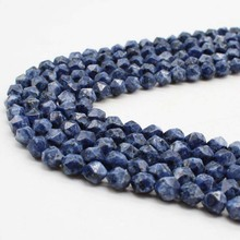 High Quality Faceted Sodalite font b Blue b font vein stone Natural Stone Beads For Jewelry