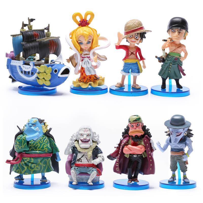 Anime One Piece Toys The fish men island Luffy Zoro Jinbe Hordy Jones PVC Figures 8cm 8pcs/set OPFG416 anime one piece mini pvc figures toys 10pcs set luffy ace boa hankokku dracule mihawk doflamingo kuma teach jinbe moria edward