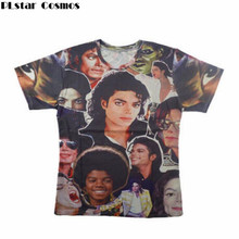 PLstar Cosmos King of Rock Roll Michael Jackson print 3d t shirt men women Boy singer