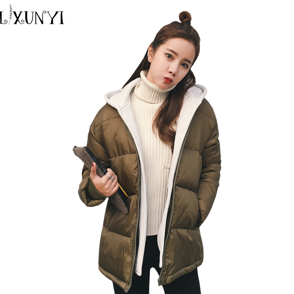 2017 Korean Winter Casual Women Two-piece Hooded Parkas Cotton Thick Loose Jacket Clothing Female Outerwear Coat Parka large size winter jacket hooded coat women clothing korean loose thick lamb wool coat solid casual warm cotton female coats 4xl