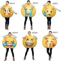 2017 Women Funny Emoji Face Series Jumpsuit Costumes Cartoon Cosplay Emoji Costume Mascot Costumes For Adults