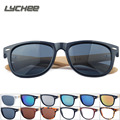 LYCHEE2017 Alta Calidad de La Vendimia Negro gafas de Sol Cuadradas Con Piernas De Bambú de Espejo Polarizado Verano Estilo de Viaje de Madera Eyewear