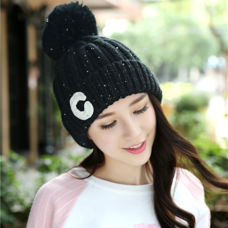 Thick Warm Women's Winter Hats Beanie Hat Knit Hats For Women Girl Skullies Beanies Knit Ball Quality Cap Hat Wholesale 068 free shipping 2016 new 1pcs wholesale diamond grid stripe knit cap man and a woman in winter warm hat 100% quality assurance