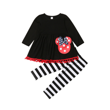 2PCS Toddler Kids Baby Girl Outfits Clothes Tops Long Sleeve Tassel Dress Striped Leggings Pants Set 2019 цена и фото