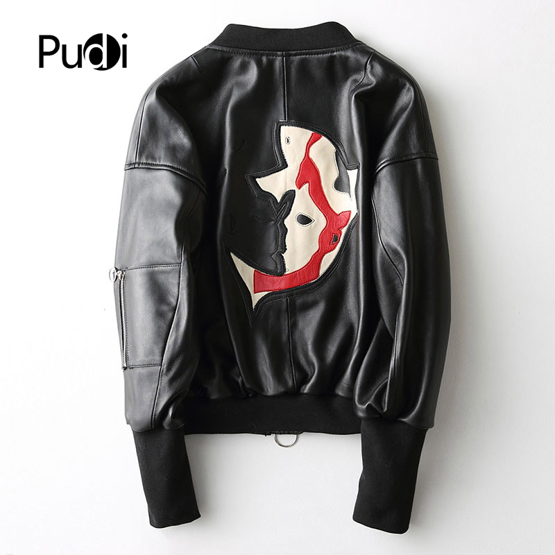 PUDI A27265 women s winter warm genuine sheep leather with collar coat lady coat jacket overcoat
