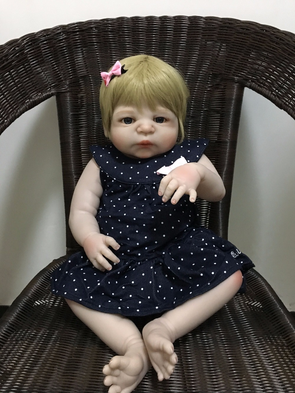 55cm Full Body Silicone Reborn Baby Doll Toys 22inch Vinyl Newborn Princess Toddler Girls Babies Doll Bathe Toy Birthday Gift 18 inch sd bjd classical victoria lolita aesthetic style ball jointed doll full vinyl baby toy brinquedo kids birthday xmas gift