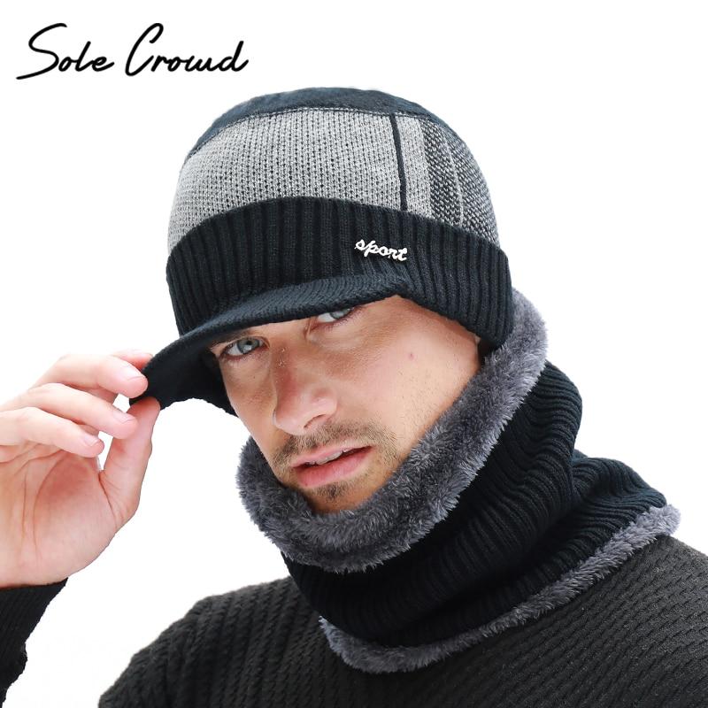 Suela multitud invierno más terciopelo grueso punto sombrero y bufanda para hombres Skullies Beanies Invierno Caliente Caps Bonnet hombres Balaclava sombreros