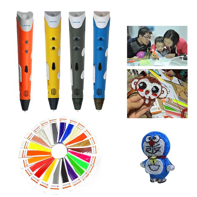 Dewang fábrica abs filamento impresora 3d barato con 220 metros 22 color niños del juguete de dibujo magic pen 3d