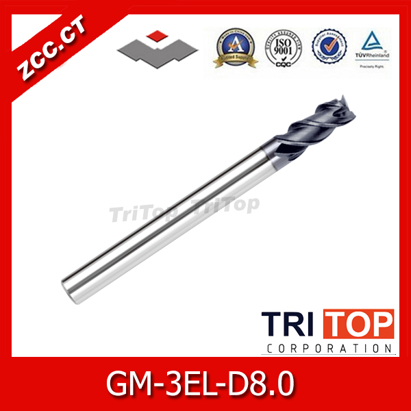 CNC tools ZCC.CT  GM series  GM-3EL-D8.0 Cemented Carbide 3-flute flattened Long cutting edge end mills with straight shank  6 12 28degree 1 5 letter cutting tools cnc letter mini tools a series