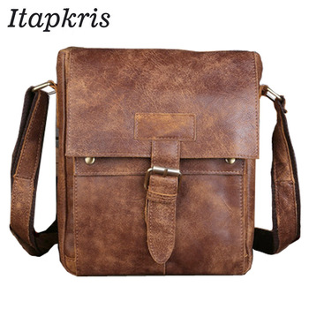 Itapkris Men's Handbags Made Of Genuine Leather Notebook Briefcase For Male Large Capacity Shoulder Bag Business Document Holder