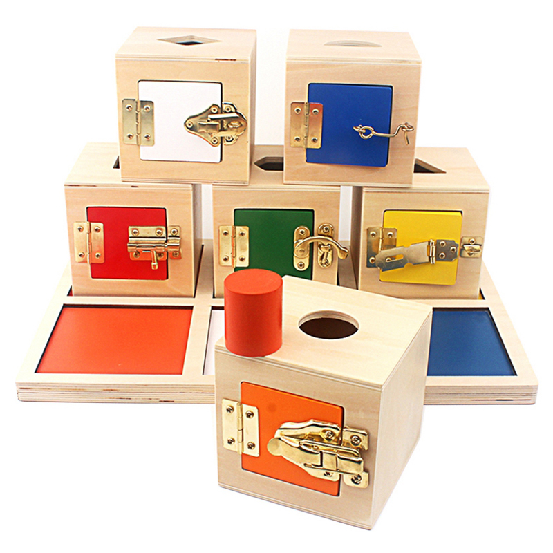 Montessori Daily Life Multifunctional Learning 6 Unlock Box Exercises Toys Practical Training Wooden Toys Metal Lock 16-24 Month