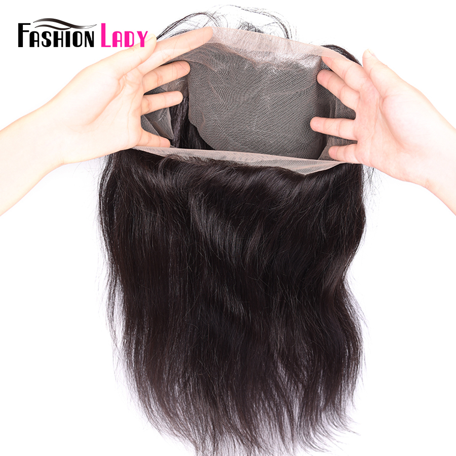 Fashion Lady Bleached Knot Remy Peruvian Straight Hair Closure 360 Pre Plucked Hair Line Frontal Closure With Baby Hair