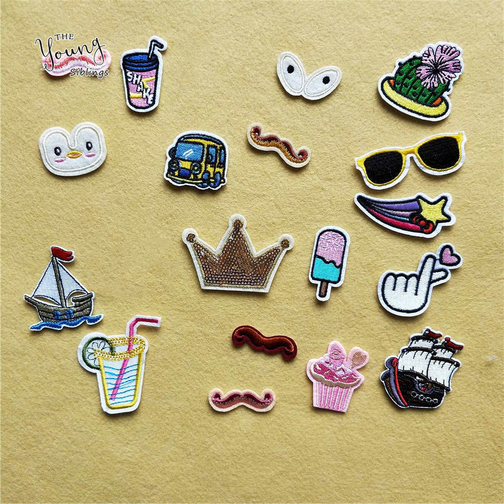 Cartoon Animal Hot melt adhesive iron Patches Cute Face Embroidery Stickers Jacket Hat Badges DIY Clothing Craft Supplies